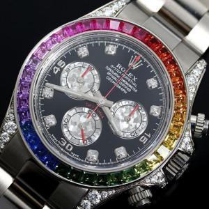 ロレックス ROLEX デイトナ レインボー 116599RBOW 自動巻き WG無垢 ダイヤモンド サファイア クロノグラフ メンズ 腕時計(中古)|ookura7815