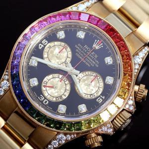ロレックス ROLEX デイトナ レインボー 116598RBOW 自動巻き 金無垢 ダイヤモンド サファイア クロノグラフ メンズ 腕時計(中古)|ookura7815
