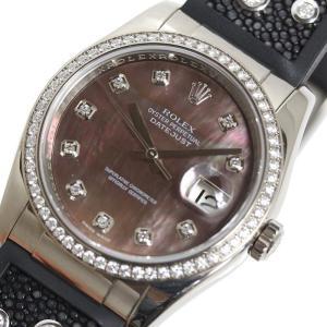 ロレックス ROLEX デイトジャスト 116189NG ダイヤベゼル WG無垢 マザーオブパール 自動巻 メンズ 腕時計(中古)|ookura7815