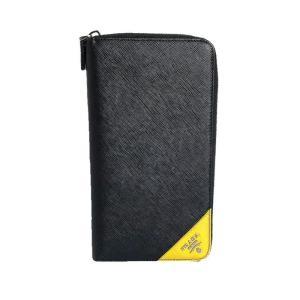 プラダ PRADA トラベル ドキュメントケース 2ML188 ブラック NERO×SOLEIL サフィアーノ 長財布 メンズ (中古)|ookura7815