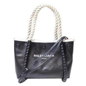 バレンシアガ BALENCIAGA ネイビーカバス レザー ブラック ハンドバッグ (中古) ookura7815