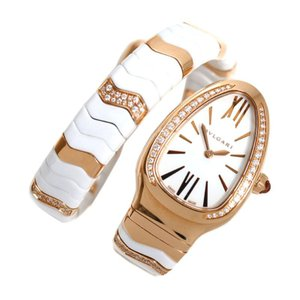 ブルガリ BVLGARI セルペンティ スピガ SPP35G クォーツ PG無垢 セラミック ダイヤモンド レディース 腕時計(中古)|ookura7815