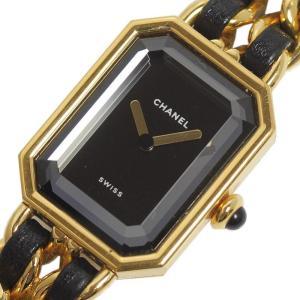 シャネル CHANEL プルミエールXL H0001 ゴールド×黒レザーストラップ クォーツ レディース 腕時計(中古)|ookura7815