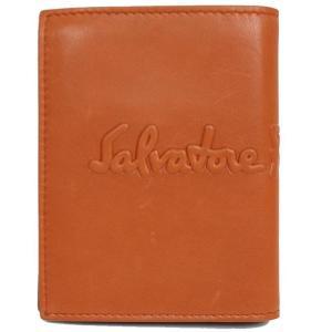 フェラガモ Salvatore Ferragamo  2つ折り財布 660686 オレンジ×ダークブラウン(未使用)|ookura7815
