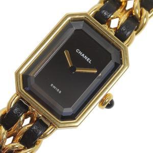 シャネル CHANEL プルミエールL ゴールド×黒レザーストラップ クォーツ レディース 腕時計(中古)|ookura7815