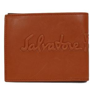 フェラガモ Salvatore Ferragamo  2つ折り財布 660682 オレンジ×ダークブラウン(未使用)|ookura7815