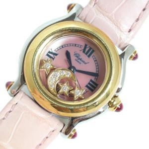ショパール Chopard ハッピースポーツ 27/8246-21 YG/SS スター&ムーン ピンクシェル クォーツ レディース 腕時計(中古)|ookura7815