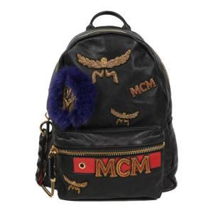 エムシーエム MCM ローレル ワッペン バックパック MUK6AVE65BK001 レザー ブラック (中古) ookura7815