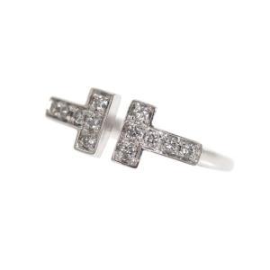 ティファニー TIFFANY&CO ティファニーT ワイヤーリング K18WG ダイヤモンド レディース 指輪 ジュエリー(中古)|ookura7815