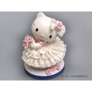 HeLLo Kitty ハローキティ レースドール/陶製人形 〔ホワイト〕 磁器 高さ14×ベース径11cm 日本製〔代引不可〕送料無料 ookuratakarabori