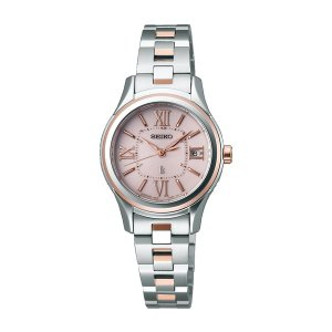 セイコー ルキア レディース 腕時計 SSVW034 ピンクゴールド SEIKO ソーラー電波時計 ...