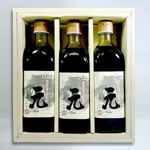 産直送料込み 小豆島・再仕込み醤油「元」G-36 500ml瓶×3化粧箱入り|oomoriya