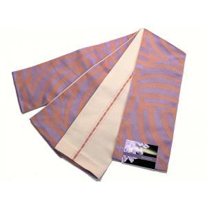 京紫織・ロングサイズ(4.4m)小袋半巾帯 「両面別織柄」  O-3|oooka529