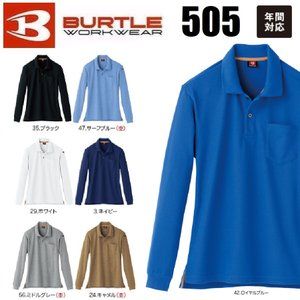 長袖ポロシャツ バートル 505 BURTLE SS〜5L ユニセックス オールシーズン (ネーム刺しゅうできます)|oosumi-marutake
