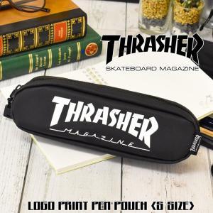 とってもスタイリッシュかつ、 しっかりとした生地を使用した、 「THRASHER」ロゴプリントペンケ...