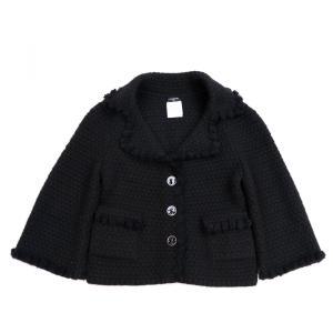 シャネル CHANEL 07A カシミア×モヘア ショートニットジャケット 9分丈 鍵穴ボタン 34 黒 レディース 美品【A1-100】|opal-shop1
