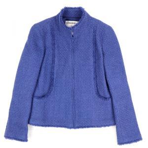 シャネル CHANEL 04A アンゴラ混 スタンドカラー ツイードジャケット フリンジ 36 青 美品【C3-1148】|opal-shop1