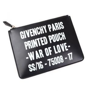 ジバンシー GIVENCHY 16SS スローガン WAR OF LOVE レザー クラッチバック ポーチ 黒×白【J1-1209】 opal-shop1