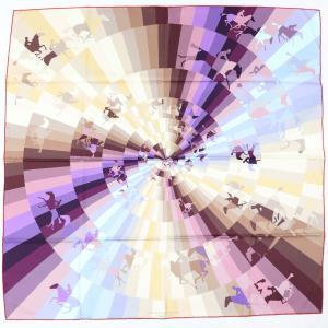 エルメス HERMES スカーフ カレ90 GALOP CHROMATIQUE クロマチックギャロップ シルク100% 美品【Z2-1459】|opal-shop1