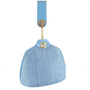 コンテス COMTESSE vintage ホースヘアー×レザー ハンドバッグ ゴールド金具 ライトブルー 水色 レディース 美品【J3-1704】 opal-shop1