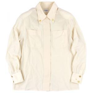 シャネル CHANEL ヴィンテージ vintage ボタンダウンシルクドレスシャツ ブラウス 長袖 クローバーボタン アイボリー 【I2-1781】|opal-shop1