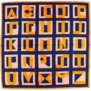 エルメス HERMES スカーフ カレ90 18AW LettresauCarre カレのアルファベット シルク100% オレンジ×ネイビー 未使用【Z1-1915】|opal-shop1