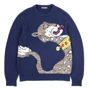 ドルチェ&ガッバーナ DOLCE&GABBANA アニマルモチーフ ウールニットセーター トップス 50 ネイビー【F3-2140】|opal-shop1