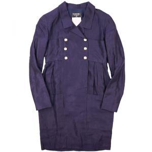 シャネル CHANEL ヴィンテージ vintage タックデザイン プルオーバーシャツワンピース ダブル 長袖 ココマークボタン 紫 【A4-2221】|opal-shop1