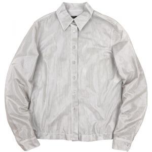 シャネル CHANEL 99P ヴィンテージ vintage 長袖メッシュシャツ ブラウス クリアボタン 38 シルバー 【E3-2383】|opal-shop1