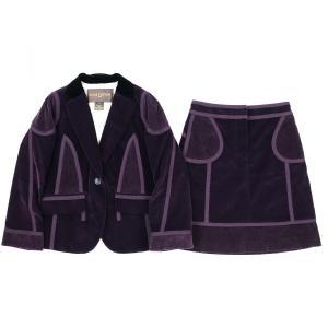 ルイヴィトン LOUIS VUITTON コーデュロイ×ベロア切替デザイン シングルスーツ セットアップ スカート 裏地花柄 36 赤紫系 【H2-2457】|opal-shop1