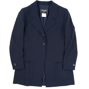 シャネル CHANEL 98C ヴィンテージ vintage ウール 2Bシングルロングジャケット ココマークボタン 羽織り 本切羽 42 紺 【A1-2472】|opal-shop1