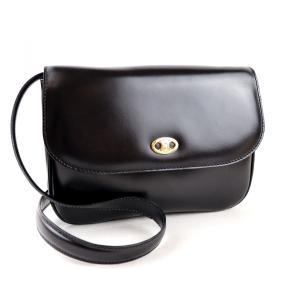 セリーヌ CELINE ヴィンテージ vintage レザーショルダーバッグ ゴールド金具 黒 美品【L2-2632】|opal-shop1