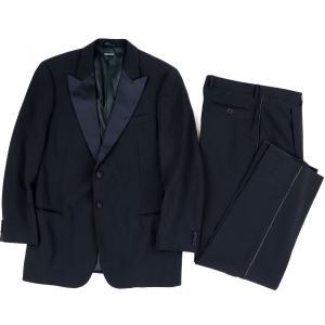 ジョルジオアルマーニ GIORGIO ARMANI ウール タキシードスーツ セットアップ 2Bジャケット 礼服 ドレスコード 50 黒【H3-2637】|opal-shop1