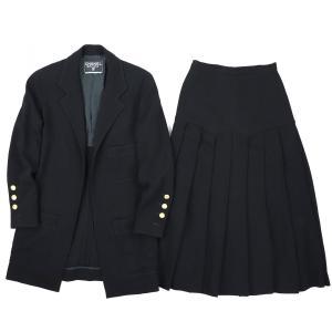 シャネル CHANEL ヴィンテージ vintage ウールセットアップ スーツ ロングジャケット プリーツ切替ロングフレアスカート 36 黒 【A2-2640】|opal-shop1