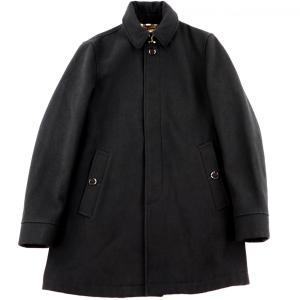 バーバリーブリット Burberry Brit  比翼ステンカラー 裏地チェック オーバーコート メンズ M 黒 美品【H3-2683】|opal-shop1