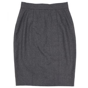 シャネル CHANEL ヴィンテージ vintage ウールタイトスカート バックボタン ココマーク ひざ丈 スリット 34 ダークグレー 【A4-2715】|opal-shop1