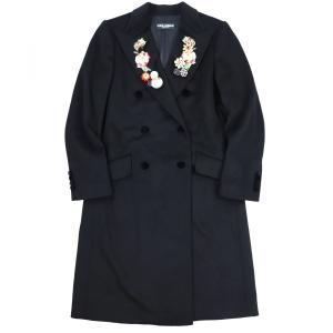ドルチェ&ガッバーナ DOLCE&GABBANA カシミヤ混ウール 襟ビジュー装飾デザイン ダブルロングコート フローラル刺繍 40 黒 【AA2-2742】|opal-shop1