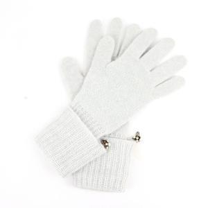 クリスチャンディオール Christian Dior カシミア100% グローブ CDロゴモチーフ フェイクパール飾り レディース手袋 グレー【Z1-3225】|opal-shop1