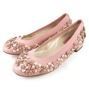 クリスチャンディオール Christian Dior フラワーモチーフ フラットシューズ パンプス イタリア製 35D ピンク 未使用【S3-3378】|opal-shop1