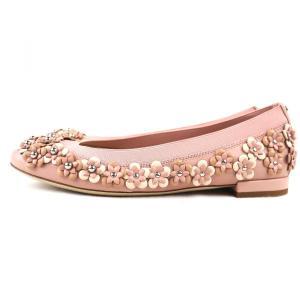 クリスチャンディオール Christian Dior フラワーモチーフ フラットシューズ パンプス イタリア製 35D ピンク 未使用【S3-3378】|opal-shop1|02