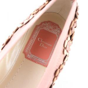 クリスチャンディオール Christian Dior フラワーモチーフ フラットシューズ パンプス イタリア製 35D ピンク 未使用【S3-3378】|opal-shop1|07