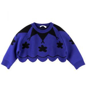 クリスチャンディオール Christian Dior 16SS ウール クルーネックショートニットセーター リブ切替 花柄 36 青×黒 新品同様【A4-3401】|opal-shop1