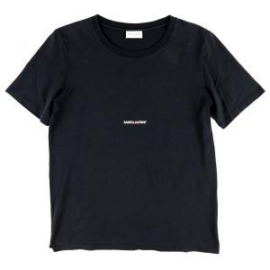 サンローランパリ SAINT LAURENT 2018 ロゴプリント クルーネックTシャツ カットソー ケリング 国内正規 S 黒【B3-3533】|opal-shop1