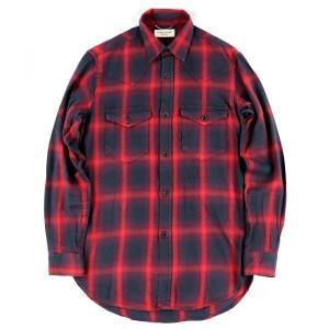 サンローランパリ SAINT LAURENT 2017年 シャドーチェック ネルシャツ メンズ  XS 赤×黒【A4-3537】|opal-shop1