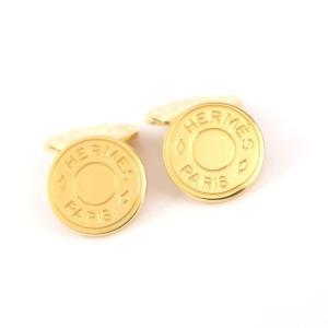 エルメス HERMES セリエ カフス 金ボタン カフリンクス ロゴ ゴールド【Z5-3637】|opal-shop1