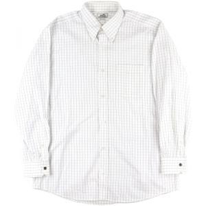 エルメス HERMES チェック柄 ボタンダウンシャツ セリエボタン 42 白 メンズ【A1-3719】|opal-shop1