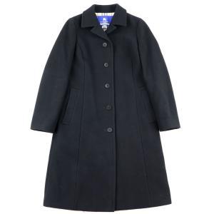 バーバリーブルーレーベル BURBERRY BLUE LABEL シングル ウールロングコート レディース 38 黒 美品【F4-3756】|opal-shop1