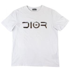ディオール DIOR 19AW 空山基コラボ メタリックエフェクト DIORロゴTシャツ カットソー メンズ S 白【F1-3867】|opal-shop1