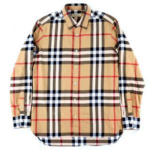 バーバリー BURBERRY Check Shirts 長袖 チェックシャツ レギュラーカラー 国内正規 メンズ M ベージュ系 美品【F2-3873】|opal-shop1