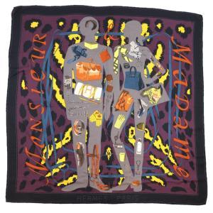 エルメス HERMES ムッシュ&マダム MONSIEUR ET MADAME カレ140 カシミア×シルク 大判 ショール ストール 黒×紫×マルチ【Z1-3908】|opal-shop1
